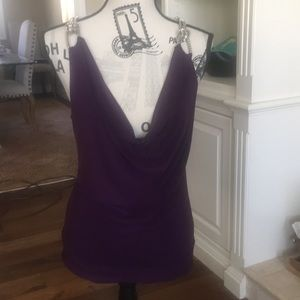 M USA plum blouse with silver chain straps size M